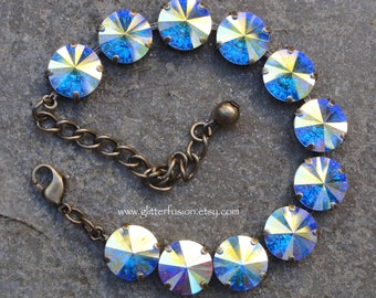 Aurora Borealis Swarovski Crystal Cup Chain Antique Brass Bracelet, Iridescent AB Crystal Bracelet, Prom/Bridesmaid 12mm AB Tennis Bracelet