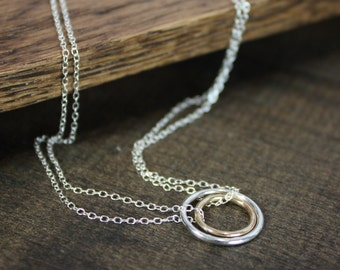 Double Circle Necklace - Sterling Silver, Gold Fill - Gift For Her - Gift For Mom - Sisters Gift - Best Friends Necklace - Christmas Gift