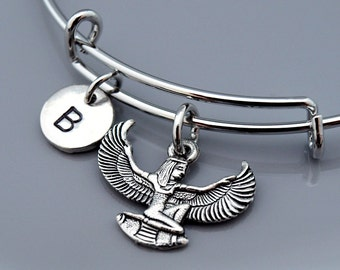 Isis bangle, Egyptian goddess Isis, Silver Isis, Winged Isis, Egyptian theme, Aset, Iset, Expandable bangle, Charm bangle, Initial bracelet