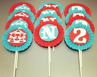 12 Personalized Circus/Carousel Cupcake Toppers - Red/Aqua/White - Birthday's, Baby Showers, Summer Celebrations
