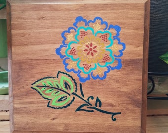 Wood flower painting, Bohemian art decor, Bohemian painting, floral painting