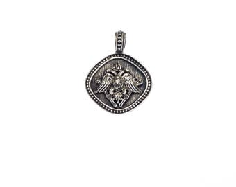 double- headed eagle pendant in sterling silver