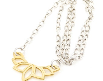 Silver Gold Necklace, Lotus Necklace, Long Silver Gold Necklace, Long Lotus Necklace, Long Pendant Necklace, Two tone Long Necklace, Lotus