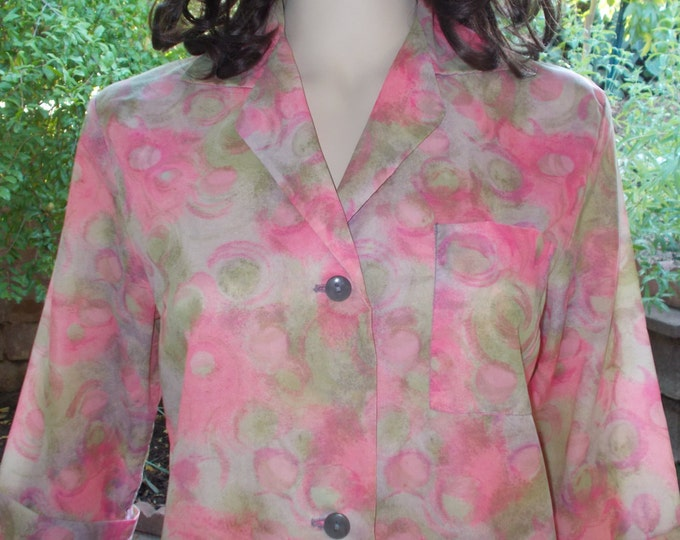 Vintage 60s Fashioned by Philis From Poland Pink Nylon Floral Psychedelic Flowers Womens Dressing Gown Housecoat Above The Knee Shift Dress