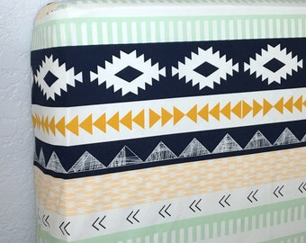 Fitted Crib Sheet in Mint, Navy and Peach Tribal Aztec, Girl or Boy - Ready to Ship