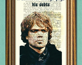 TYRION LANNISTER -  Game of Thrones - Dictionary Art Print - Quotes- Antique Book Page Recycled Print -