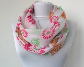 CLEARANCE SALE - Floral Scarf - Infinity Scarf - Loop Scarf - Circle Scarf - Scarf Necklace - Dainty Soft Scarf - 722