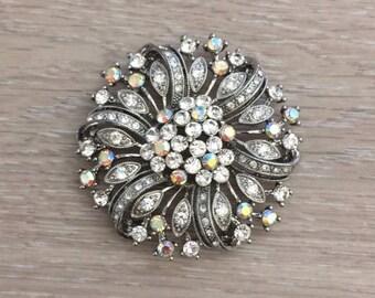 Rhinestone Brooch, Flower Brooch, Bridal Brooch
