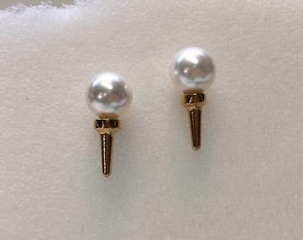 Vermeil and faux pearl golf ball & tee earrings