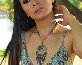 Steampunk Dreamcatcher Jewelry Set With Crystal and Repurposed Parts