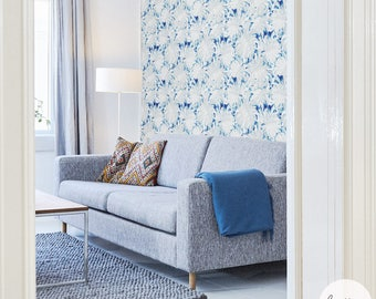 Tropical Palm Leaf Removable Wallpaper / Traditional or Self Adhesive Wallpaper