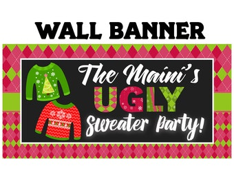 Ugly Sweater Party Photo Banner ~ Christmas Ugly Sweater Personalized Party Banners Holiday Party Banner, Vinyl Printed Banner