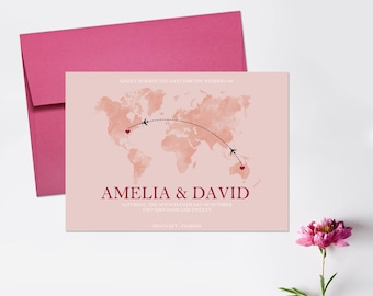 Save the Dates, World Map, Destination Wedding, Travel Save the Date Cards, World Save the Dates, Shades of Pink