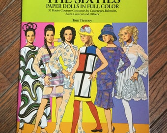 Vintage 1991 Fashion Designs of the Sixties Paper Dolls Book Tom Tierney