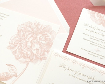 Peony Wedding Invitations, Pink Peony Wedding Invitations, Peony Flower Wedding Invitations, Spring Summer Wedding Invitations, Peonies