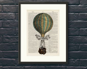 Striped Hot Air Balloon 14 - Upcycled vintage Steam Punk image printed on an Antique Dictionary page Wall Art