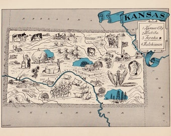 30's Vintage KANSAS Picture Map Pictorial State Cartoon Map Print  Gallery Wall Art Library Office Decor Map Collector Wedding Birthday Gift