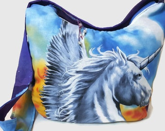 unicorn purse, pegasus purse, Unicorn hobo bag, cross body bag, unicorn gift, boho bag, slouch purse, bohemian bag,  hipster bag, hippie bag