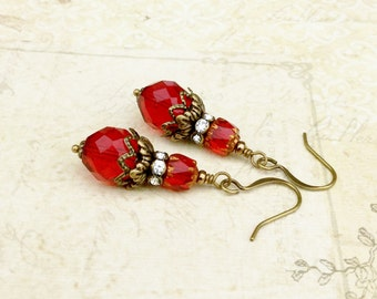 Red Earrings, Ruby Earrings, Vintage Red Earrings, Victorian Earrings, Vintage Look Earrings, Czech Glass Beads, Red Gold Earrings, Gifts