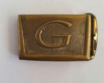 "Vintage 1950's brass letter G small gauge belt buckle, Hickok USA Master Plate, Zinc Alloy 7/8"" belt"