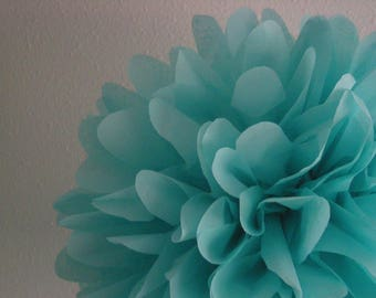 AQUA tissue paper pompom blue green wedding decorations reception ceremony aisle arbor arch marker chair back engagement photo prop backdrop