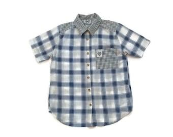 Vintage Grunge Plaid Collard Shirt