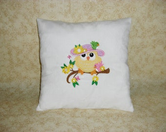 Baby White Owl Embroidered Pillow, Nursery Decor, New Baby Pillow, Nursery Accent, Girl's Room Decor