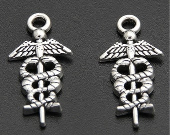 30pcs Antique Silver Medical Symbol Caduceus Charm Charms Pendant A1612