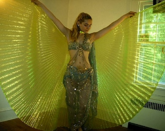 WINGS of ISIS, Ayshe Wings, Apple Green Iridescent ORGANZA, Costume, Accessory, Bellydance, Belly Dance, Dance