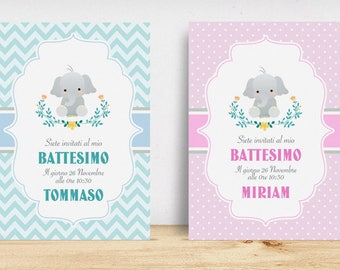 Invitation for Baby and toddler baptism with elephant
