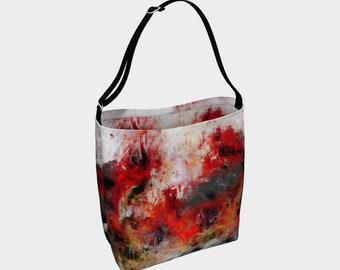 Red Hope Tote Bag Shoulder Bag Womens Bag Women Bags Floral Purse Stretchy Bag Neoprene Purse Hippie Bag Gypsy Bag Summer Gift for Her Art