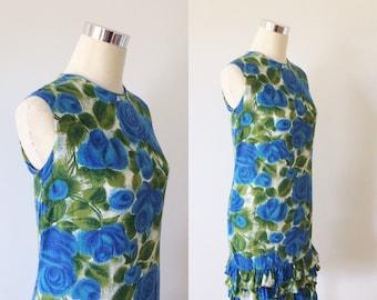 1960s Blue Rose Mini Dress with Ruffle Hem Size Small | 60s Rose Print Shift Dress