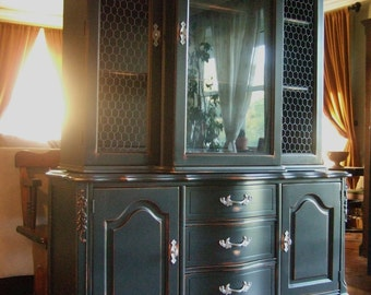 Distressed Black French Country Hutch