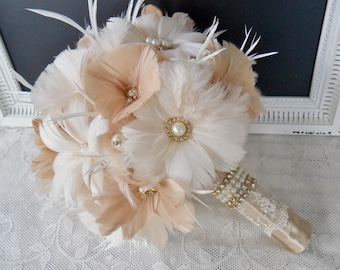 Wedding bouquet, Feather Bridal bouquet, Great Gatsby Wedding bouquet, Gold Wedding bouquet, Feather bouquet, Champagne Bridal bouquet