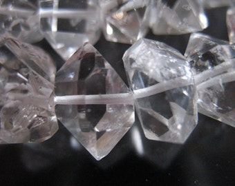 Herkimer Diamond Healing Crystals Nuggets Beads / Luxe AAA, 1-10 pcs, 14-15.5 mm / Double Terminated Points, wholesale gems gemstones  xl