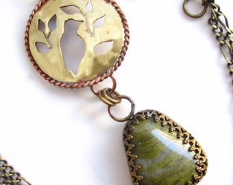 Songbird Necklace - Moss Agate, Brass and Copper