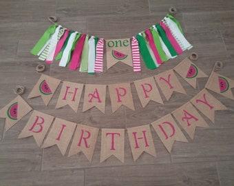 Watermelon Birthday, Watermelon High Chair Highchair Banner, One In A Melon, First 1st Birthday, Watermelon Party, Summer Birthday, One Pink