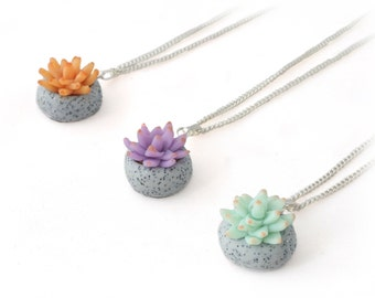 Succulent Necklace - Cactus Necklace - Terrarium Jewelry - Silver Charm Necklace - Plant Necklace - Gift for Her - Gifts Under 10