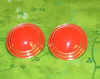 Vintage Red enamel with Gold circles earrings
