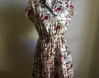 Vintage Rare 60s Batik Cotton Dress • Cotton Day Dress