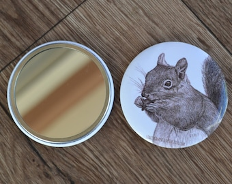 56mm Squirrel Illustrated Compact Pocket Mirror