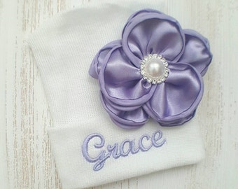 Newborn girl personalized hospital hat- baby girl hospital hat, baby girl hat, newborn beanie, lavender hospital hat, newborn hat