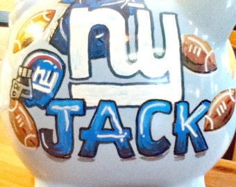 Blue Piggy Bank Personalized Custom Sports Team Art of Your Choice 2 Handpainted