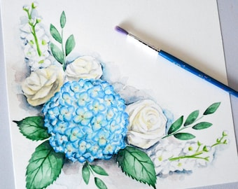 ORIGINAL Watercolour Painting - Blue Hydrangea Floral