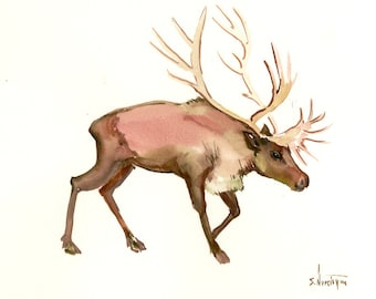ReinDeer, Original watercolor painting, 15 x 12 in, animal art, animal painting, wild animals,