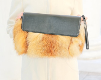 Red fox fur clutch Real fur bag Clutch bag Fur purse Fox bag Evening fur clutch Gift for her Valentine's gift gift for woman Winter wedding