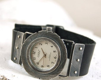 SALE 10 - 20% handcrafted silver watch, rough raw oxidized silver watch, leather bracelet watch