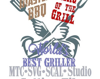 SVG Cut File King of the Grill #03 Master BBQ  Embellishment Worlds Best Griller MTC  SCAl Cricut Silhouette