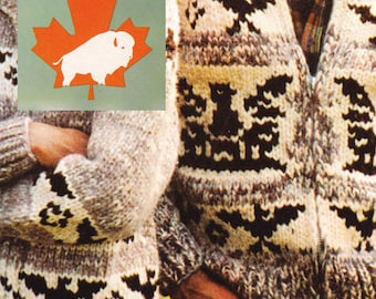 8 page PDF for Cowichan-style Eagle - Thunderbird - Eagle Sweater Pattern #21 Canadian Vintage White Buffalo Sweater Jacket pattern