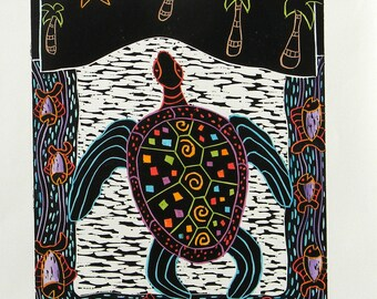 "Woodblock print ""Rainbow Turtle "". Hand pulled print. Hand color print. printmaking."